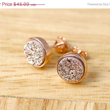 Mothers Day Sale Rose gold,Rose gold earrings,Stud Earrings,Geode Earrings,Druzy Earrings,Drusy Earrings,Gemstone,Silver stud,Agate Earrings