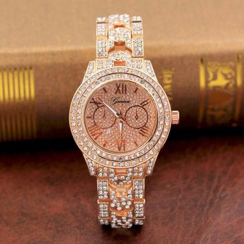 2017 Luxury Ladies Watches Metal Bracelet Quartz Wrist watch For Women Gold Sliver Crystal Watch Relojes Mujer montres femme#905