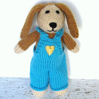 "Hand Knit Dog in Overalls - Stuffed Animal Child Toy - Ready To Ship - Puppy Dog Knit Animal - Plush Doll - Knit Toy Stuffed Dog 10"" Tall"