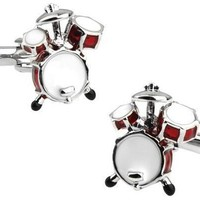 Men's Cufflinks Novelty Red 3D Drum Gift