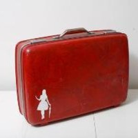 Upcycled Vintage Red American Tourister Suitcase by BrightWall