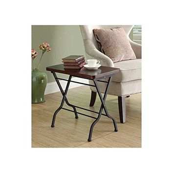 Monarch Specialties Metal Folding Accent Table, Cherry/Charcoal Black