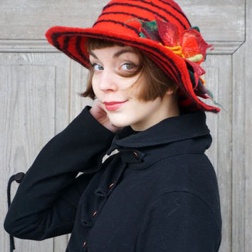 Red felted hat with black stripes, bohemian style, wide-brimmed hat, hat with big red flower, spring woman fashion, designer wool hat, OOAK