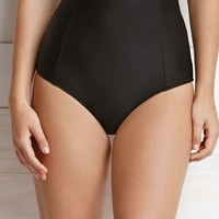 Volcom Solid High Waisted Bikini Bottom - Womens Swimwear - Black