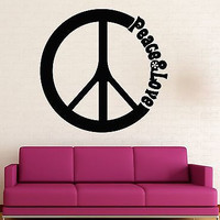 Wall Stickers Vinyl Decal Peace Love Hippie Pacifism Decor (ig1537)