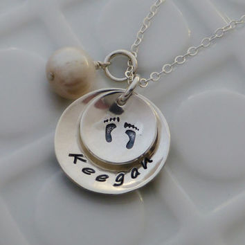 Hand Stamped New Mommy Necklace - - Baby Feet - - Sterling Silver Personalized Necklace