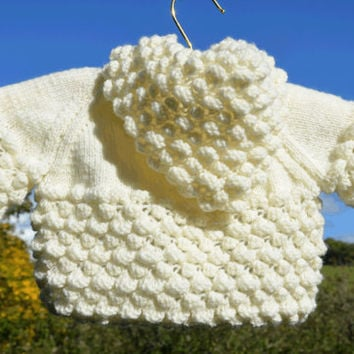 Hand knitted baby hoodie ivory sweater.  Handknit bobbly cardigan.