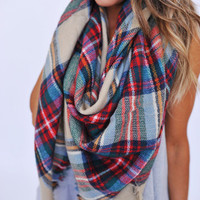 Blanket Scarf- Green/Red