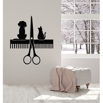 Vinyl Wall Decal Cat And Dog Beauty Salon For Pet Grooming Stickers Mural (g1524)