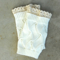 Cozy Knit Boot Cuffs in Ivory [6331] - $14.00 : Vintage Inspired Clothing & Affordable Dresses, deloom | Modern. Vintage. Crafted.