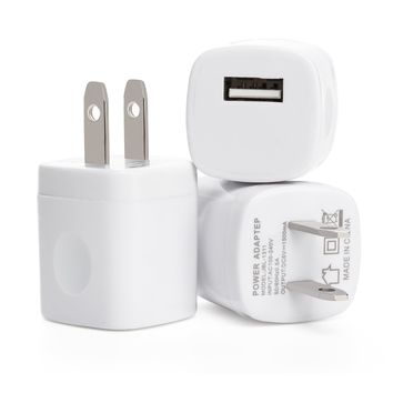 Omni INC 3PCS White Universal USB Port Colors USB AC/DC Power Adapter Home Wall Charger Plug W/ Easy Grip for iPhone 6/6 plus 5S 5 4S Samsung Galaxy S5 S4 S3