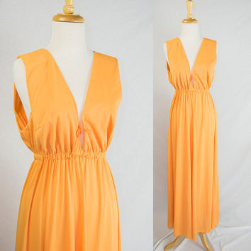 Vintage 70s Vanity Fair Nightgown Grecian Goddess in Divine Orange