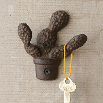 Cast Iron Rustic Cactus Wall Hook