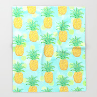 Pineapples and Polka Dots (pattern) Throw Blanket by Lisa Argyropoulos | Society6