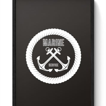 Anchor marine with black background Framed Poster