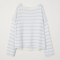 Fine-knit jumper - Natural white/Blue striped - Ladies | H&M GB