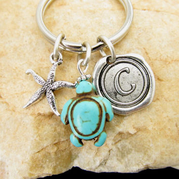Monogrammed Turtle KeyChain,  Antique Silver Star,Turquoise Turtle, Wax Seal Initial Pendant, Personlaized Keychain, Initial Silver Keychain