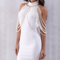 Bright Star Sleeveless Mock Neck Draped Pearl Chain Backless Bodycon Bandage Midi Dress - 3 Colors Available