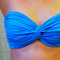 Malibu Blue Spandex Bandeau  Twisted Swimsuit Top by endoriwear