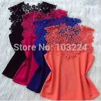 Cutout Lace Sleeveless Blouse