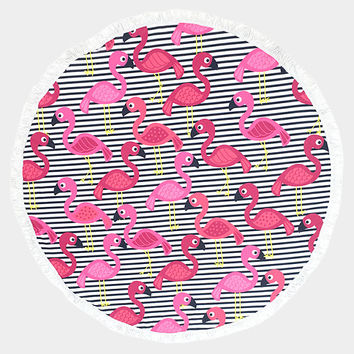 Pink, Black & White Flamingo Pattern Round Cotton Beach Towel with Tassel Trim, Beach blanket, Rug