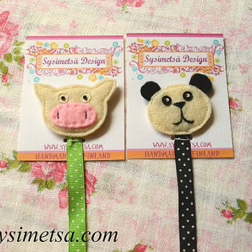 Felt Panda Bookmark, Handmade Cow Bookmarks, Colorful Embroidery Bookmark, Book Lovers Gift, Reading Mark