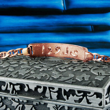Egyptian Nameplate Bracelet, Rose Gold Plated, Silver, Personalized Name in English & Arabic Engraved Letters, 1 Name, Slim, BR010C