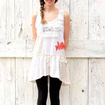 Lagenlook Summer Tunic , Upcycled cream bohemian size M ,  upcycled clothes , boho clothing indie fashion top , eco fashion by wearlovenow