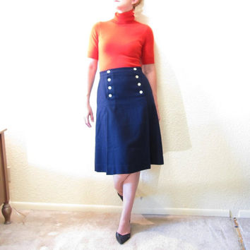 Navy Wool Nautical Sailor Skirt. A Line. Size S.