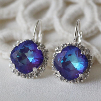 Purple Earrings. Ultra Purple AB Earrings. Swarovski Crystal. Cushion Cut  Square. Halo 135a4fae6