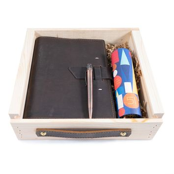 Switchback Leather Notebook + Pen Gift Set