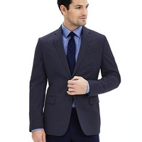 Modern Slim Textured Navy Wool Suit Jacket