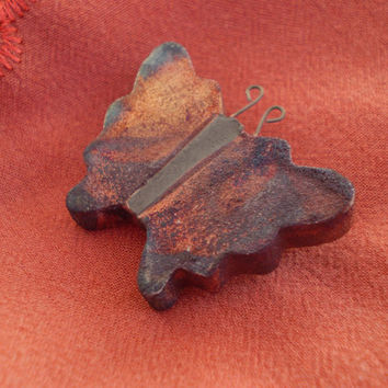 Raku Butterfly Pin, Handmade Brooch, Ceramic Porcelain Clay, Scarf or Lapel Pin, Nature Gift