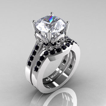 Classic 14K White Gold 3.0 Carat White Sapphire Black Diamond Solitaire Wedding Ring Set R301S-14KWGBDWS