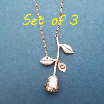 Set of 3, Personalized, Initial, Rose, Flower, Gold, Silver, Rose gold, Necklace, Birthday, Wedding, Friendship, Gift, Jewelry