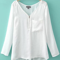 White V-Neck Long Sleeve Blouse with Pocket