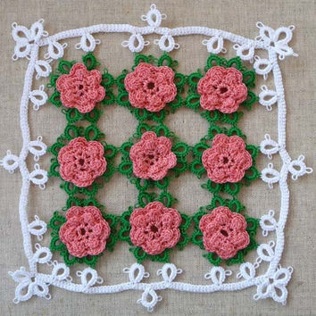 Tatting  Rose Doily - home decor - gift for Her - Housewares