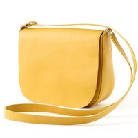 Crossbody Saddle Bag Genuine Leather Mustard Yellow, medium leather purse, messenger bag, satchel bag