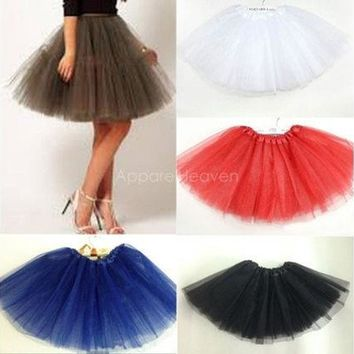 DCKL9 Adult Women Girl Princess Pettiskirt Party Ballet Tutu Skirt Mini Dress 17Color [8270422273]