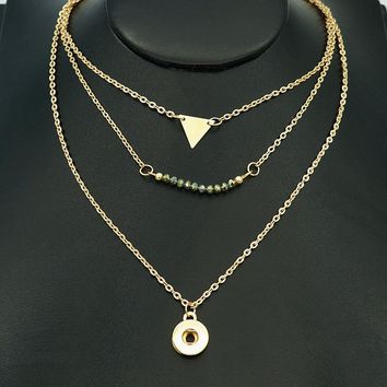 New DJ0131 Beauty Golden Fashion multi-layer Chain Snap necklace 50cm fit DIY 12MM snap buttons jewlery