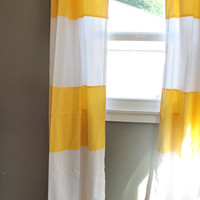 Modern Stripe Curtains in Lemon Yellow: Cabana Wide Stripe Drapes, Modern Home, Nursery Decor-Pair of Curtain Panels 84'' long-READY TO SHIP