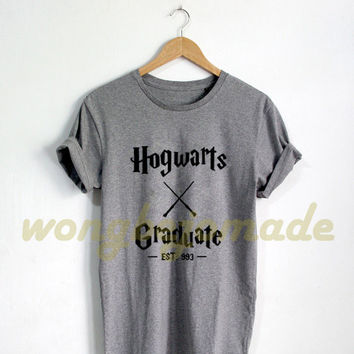 HOT Hogwarts Graduate Shirt Harry Potter Black Grey Maroon Navy and White Color Tshirt