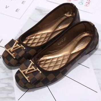 Big logo Louis Vuitton LV plaid flat shoes canvas women sandals shoes H-LLBPFSH