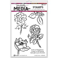 Ranger Dina Wakley Media Scribbly Flowers Cling Stamp Set