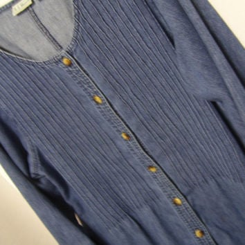 Denim Dress Long Button Front  by  L L Bean
