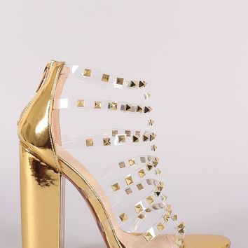 Liliana Clear Studded Straps Patent Chunky Heel