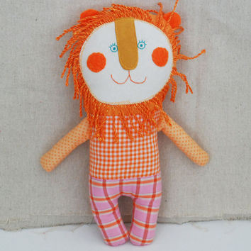 Stuffed Orange Lion Doll  for Baby, Handmade Lion Doll, Soft Animal Toy, Lion Doll for Toddler, Gift for Leo, Lion for Newborn, Gift for Son