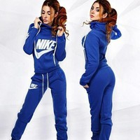 Nike Fashion Drawstring Sport Running Hoodie Pants Set Two-Piece Sportswear-1