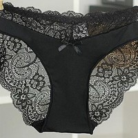 Europe and America size women sexy lace panties seamless cotton breathable panty Hollow briefs Plus Size girl sexy underwear