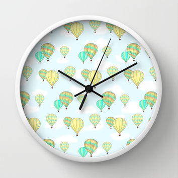 Hot Air Balloons Pattern Wall Clock by CandyBoxDigital